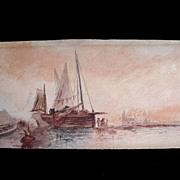 Antique 18th C Century SEPIA Watercolor Painting Venice GRAND TOUR Signed Very ELEGANT!