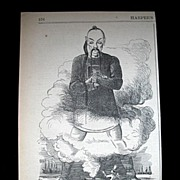 Antique 19th C Century Very EARLY Anti Chinese Print/Cartoon 1869 AMAZING!