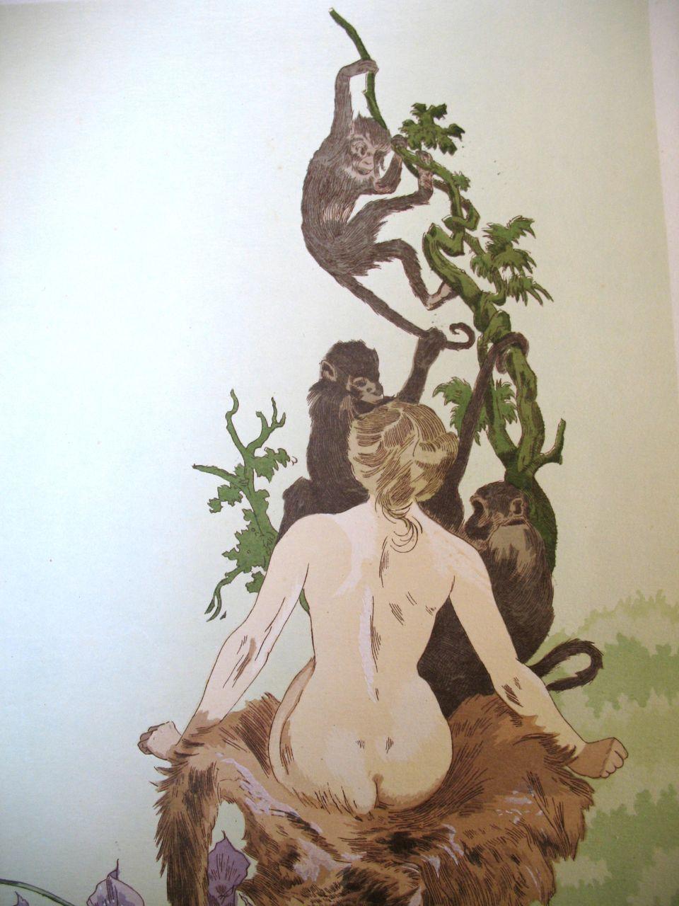 Antique French Art NOUVEAU Lithograph Print LISTED 7 SINS Lust Signed RARE!