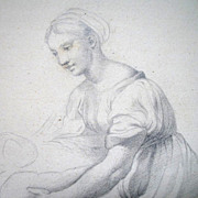 Antique Drawing After RAPHAEL 19th C Century French Woman With Child SIGNED DIVINE!