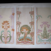 Antique Art NOUVEAU Print Lithograph 19th C French SIGNED BREATHTAKING Panels