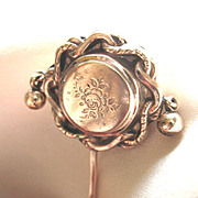 Antique LARGE French Stickpin w Dangles Napoleon III  19th C Century Gold Filled TO DIE FOR!