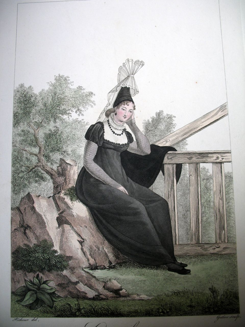 French EMPIRE Print Lithograph NORMANDY Lady 19th C Century With Watercolor Signed WOW!