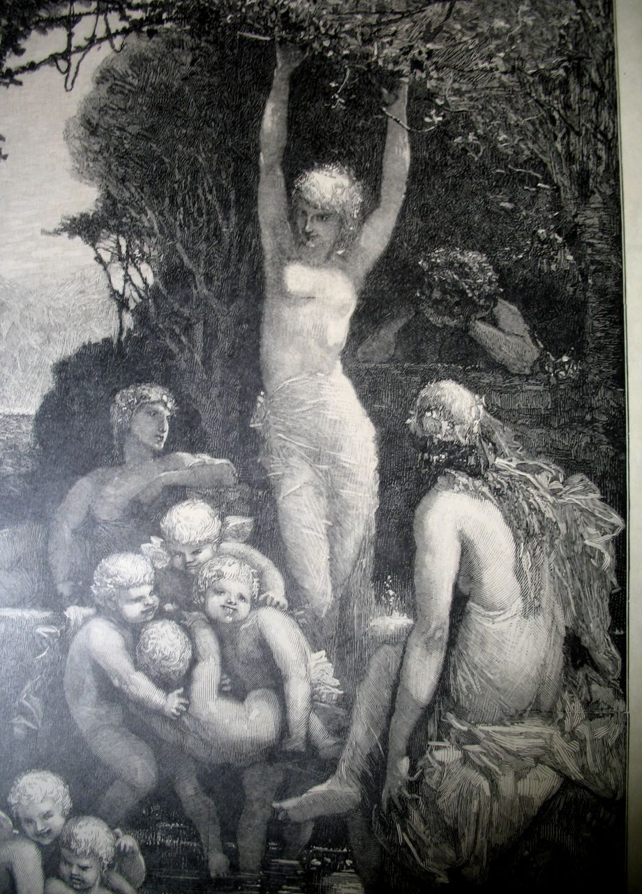 Antique 19th C Century French Art NOUVEAU Nudes Large Print Engraving LISTED Artist AMAZING!