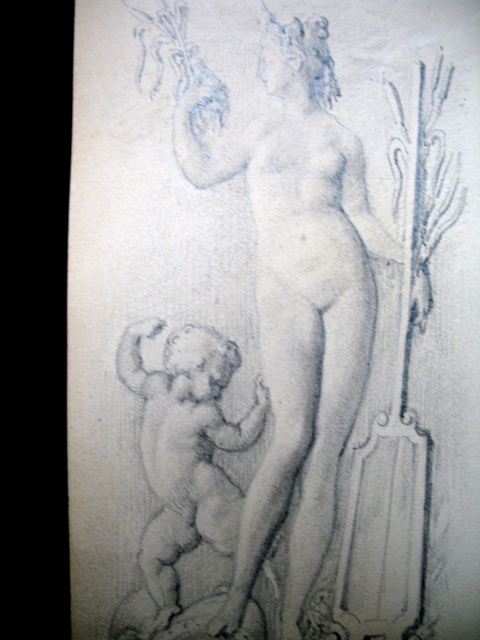 Antique FRENCH Edwardian NUDE Drawing Venus Cupid Small BEAUTIFUL!