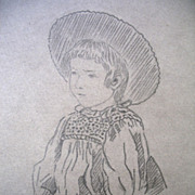 Antique Drawing French Impressionist RENOIR like Girl Portrait 1880s Signed EXQUISITE!