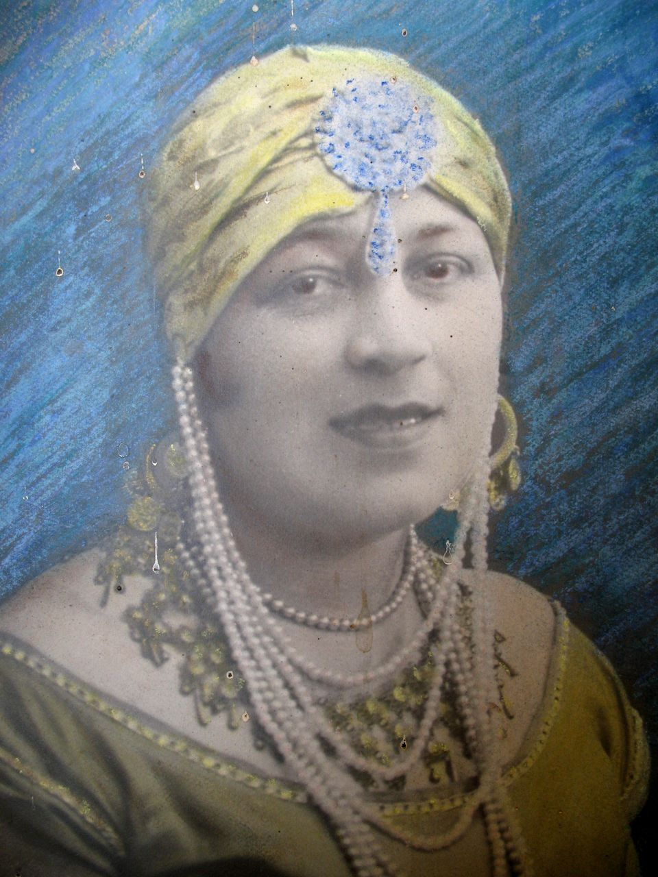 Vintage Art DECO Colorized Photo LARGE 20s Portrait Lady with JEWELS Signed FANTASTIC!