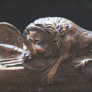 Antique VICTORIAN Swiss Carving Sculpture Small Luzern LION 19th C Century EXQUISITE!