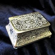 VALENTINE! Antique Art NOUVEAU Box Small Casket Carved Brass 19th C Century EXQUISITE!