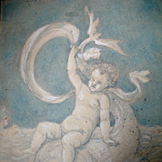 Antique 18th C Century 2 French Drawings PUTTI Cherubs Riding Tritons DIVINE!