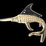 Vintage LARGE Animal Pin Brooch Enamel Sword Fish RARE!