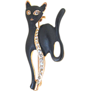 Vintage Animal Pin Brooch Eames 60s Mid Century Black CAT Rhinestones STUNNING!