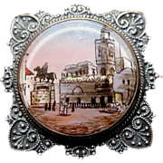 Antique French NAPOLEON III Pin Brooch LARGE Eglomise Scene DIVINE!