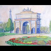 Vintage 50s PARIS Watercolor Painting Tuileries Le Louvre Eiffel Tower SIGNED EXQUISITE!