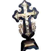 Antique French Napoleon III Cross Victorian Crucifix CARVED Gilded Wood IMPRESSIVE!