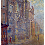 Vintage 20s French IMPRESSIONISTIC Oil Painting Gothic Cathedral City Buildings Signed MONET LIKE!