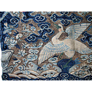 Antique Chinese KESI Rank Badge Pair 19th C Century Kossu Mandarin Squares Wild Goose DIVINE!