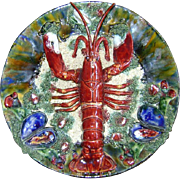 Portuguese Palissy Majolica Wall Plate Lobster
