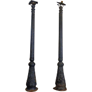 Pair of 19th Century Antique French Cast Iron Street Lamps