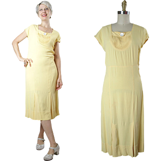 1930s Yellow Rayon Day Dress