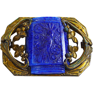 Deco Carved Lapis Lazuli Brooch with Bird Motif