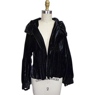 1930s Silk Rayon Velvet Evening Jacket