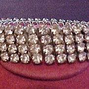 Vintage Expandable Rhinestone 4 Row Bracelet