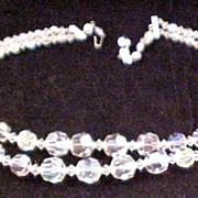 Vintage Double Strand Aurora Borealis Necklace
