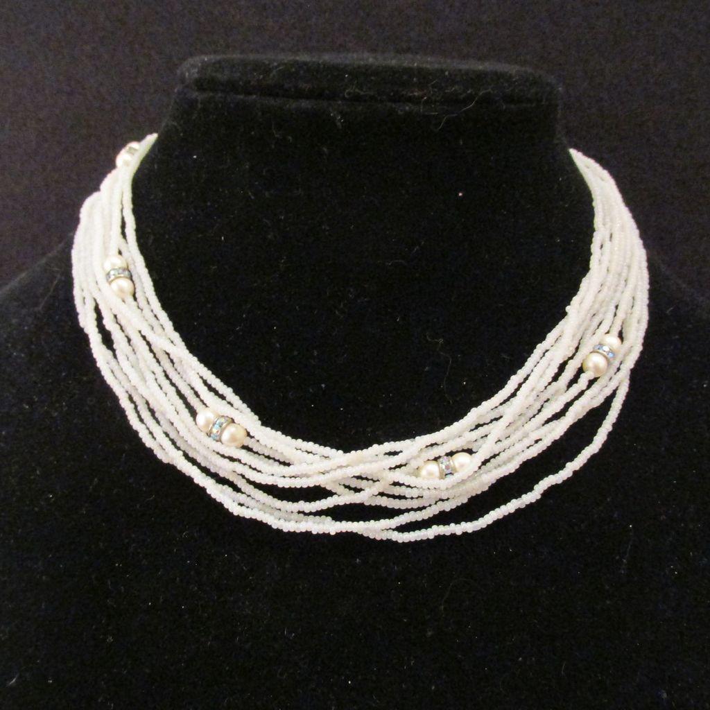 Vintage Multi Strand Seed Bead Necklace Enhanced