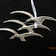 Jewelry Vintage Mexican Silver Brooch Birds