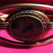 Vintage Intaglio Ornate Bangle Bracelet