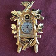 Vintage necklace TRIFARI Cuckcoo Clock Wind Up Pendant