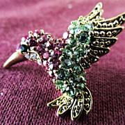 Swarovski Humming Bird Tie Tack Pin Brooch