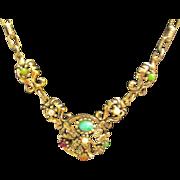 Vintage Ornate Multi Colored Necklace & Chain
