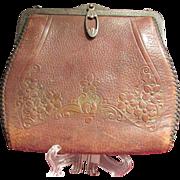 Genuine Steerhide Turn Lock Tooled Handbag Purse