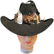 Vintage Cripple Creek Beaver Western Hat Ladies Black