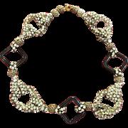 Vintage Black Square and Rhinestone Necklace Choker
