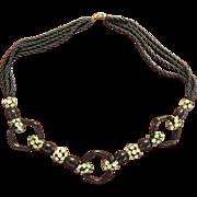 Vintage Black & Rhinestone Necklace w/ Beads