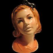 """Rare 8.5"""" Topline Lady Head Vase Collectible Vintage"""