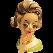 "Rare 7"" Lady Head Vase w/ Barrette & Hand w/ Ring"