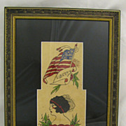 Vintage Folk Art Americana Tattoo Flash Flag Liberty Lady True Love