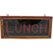 Vintage Lunch Sign Reverse Glass Tin and Wood Box