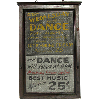 Vintage Painted Tin Wooden Framed Dance Swing Band Sign