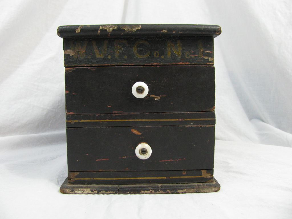 Antique & Rare Fire Company Ballot Box in Paint