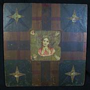 Antique Parcheesi Primitive Painted Game Board RARE