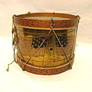 Antique Patriotic 13 Star Flag Theme Snare Drum 1897 Americana
