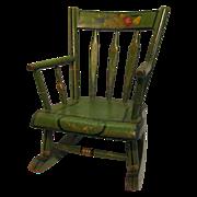 Antique Amish Green Folk Art Stenciled Child's Rocking Chair
