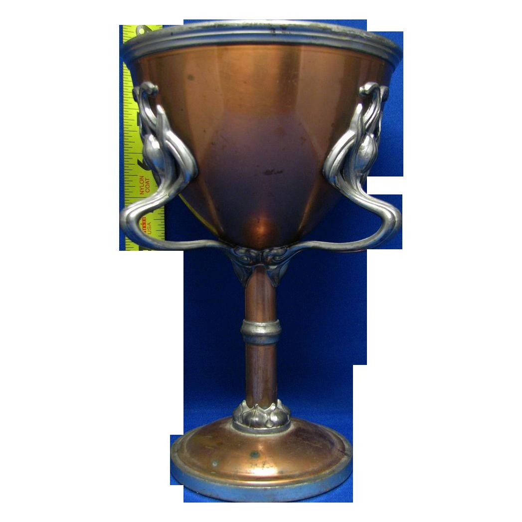 """Vintage copper three handled """"Pokal"""" cup very ornate wonderful detail"""