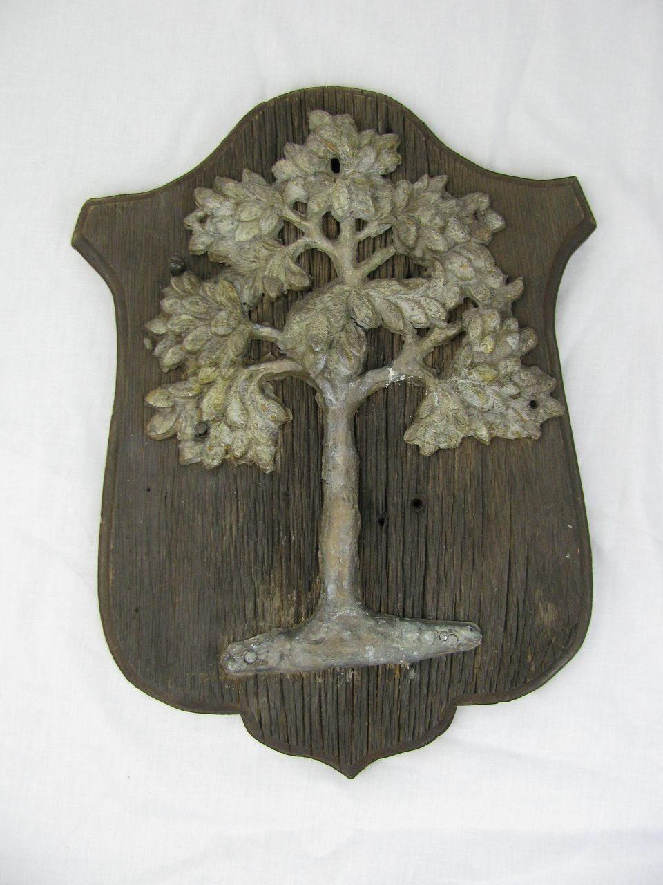 Antique Original American Fire Mark Green Tree Mutual Assurance Co. Philadelphia PA Cast Iron on Wood Frame 1784