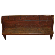 Rare Antique Painted & Numbered Amish School Bench